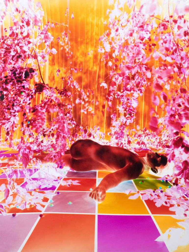 Untitled - Light lush pink & orange figurative nude lying down w/ plants