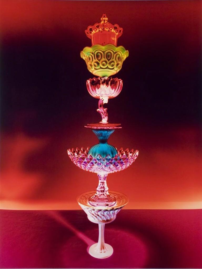 Untitled - Red jewel tone antique glass still life tower, chromogenic print