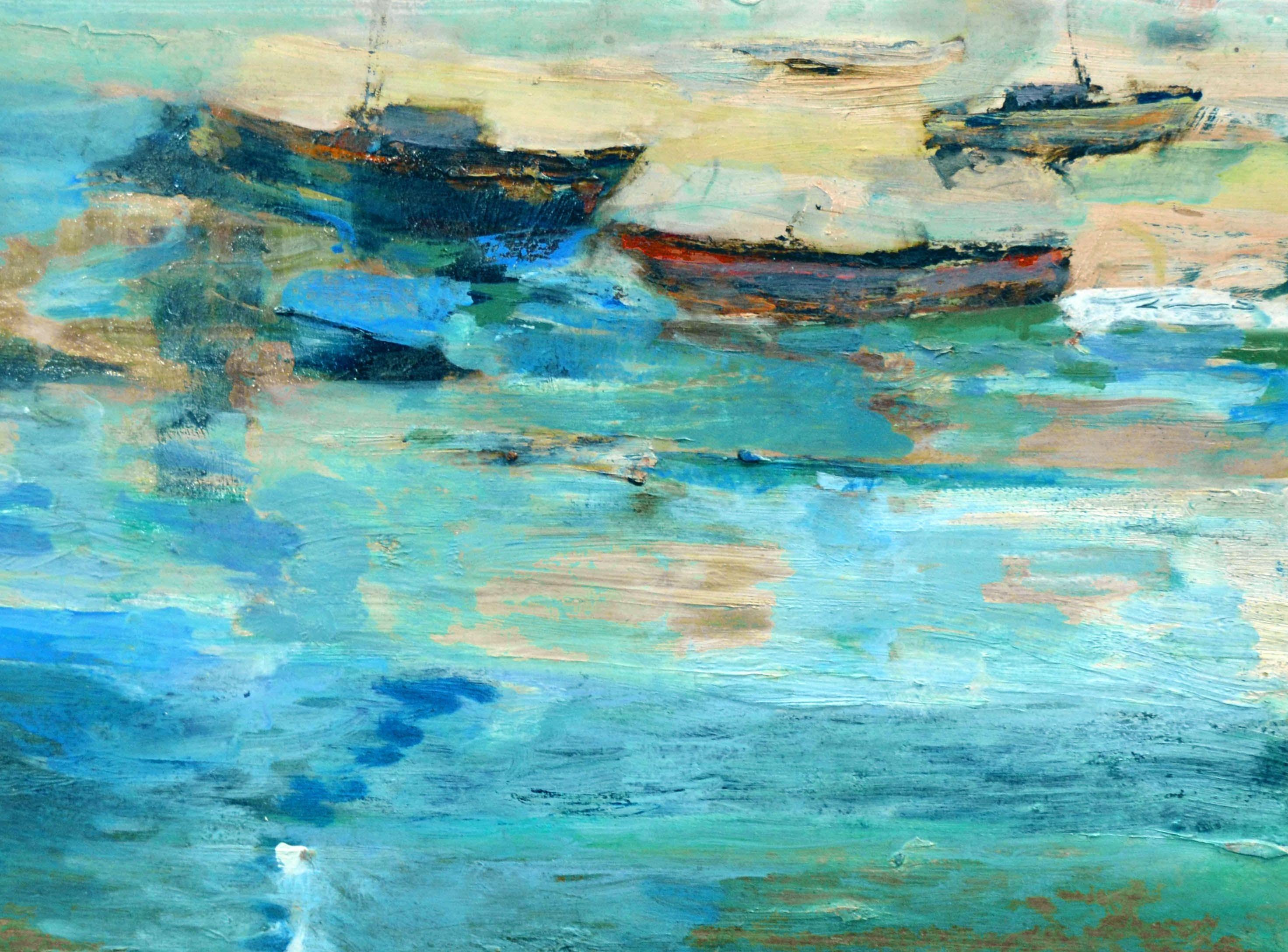 Boats Near Shore Abstract Landscape