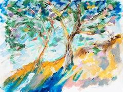 American Expressionist Oil 'A View of the Côte d'Azur, Cap Ferrat in Spring'