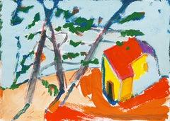 Carmel Cottage   (Modernism, Post-Impressionism, Monterey, Big Sur, Coast)