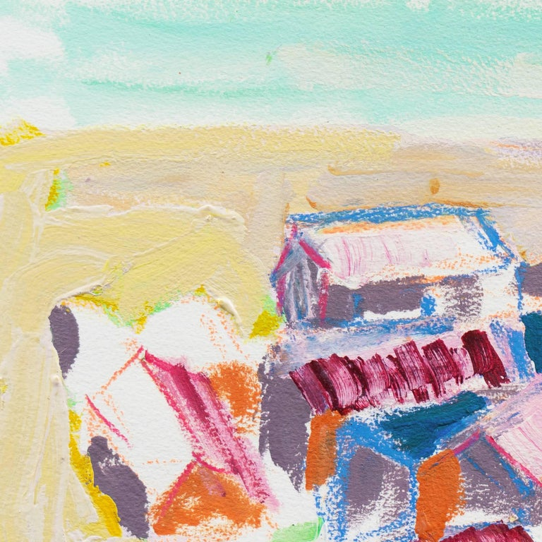 Signed center left, 'Canete' for Robert Canete and painted circa 2000.  A vibrant Expressionist-style marine painting showing an aerial view of a sailing boat rounding a headland beside a cove lined with old wooden fishermen's cottages.   This