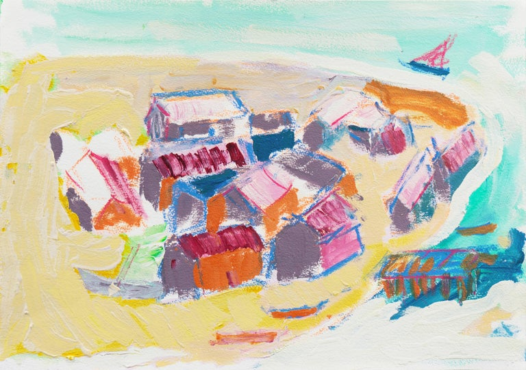 Robert Canete Landscape Painting - 'Fishermen's Cottage's, Old Monterey', California Expressionist, Stanford