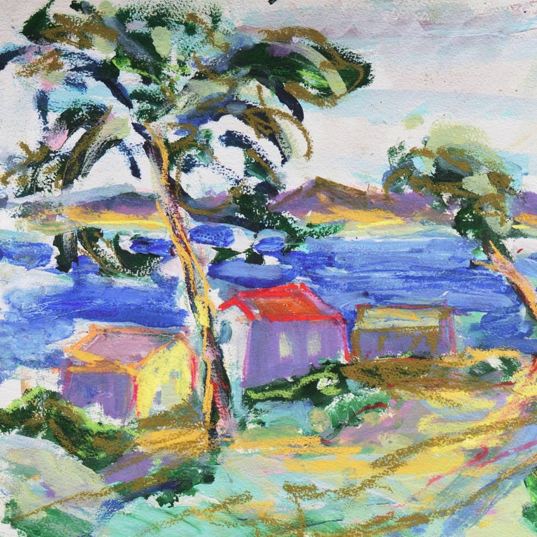 'Fishermen's Shacks, Monterey', Carmel, California Expressionist, Stanford - Gray Landscape Painting by Robert Canete