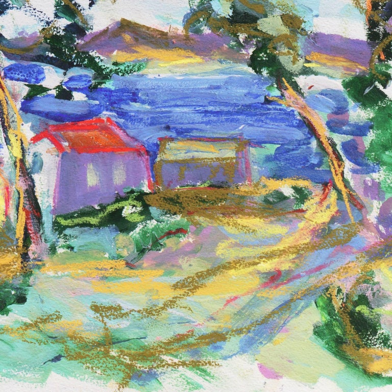 A vibrant Expressionist-style coastal landscape showing a view of old wooden cabins overlooking the deep blue waters of the Monterey Bay.  Signed lower  right, 'Canete' for Robert Canete (American, born 1948) and painted circa 2000.  This Carmel