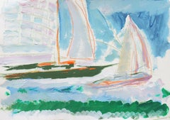 'Sailing Boats off Monterey', California Expressionist, Stanford, Carmel
