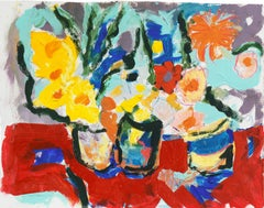 'Still Life of Spring Flowers', American Expressionist oil, California artist