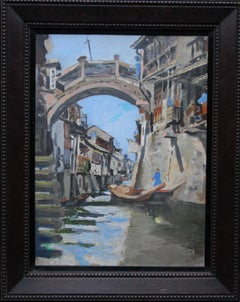 Grand Canal - China - Scottish 1930's art Chinese canal landscape oil painting