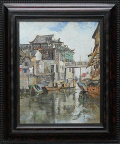 Soochow/Suzchou China - Scottish 20's Impressionist art oil painting canal China