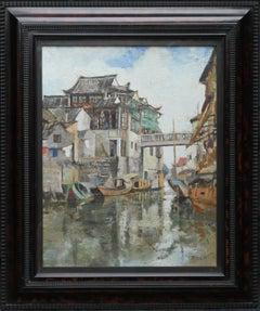 Soochow/Suzchou China - Scottish 20's Impressionist art oil painting canal China
