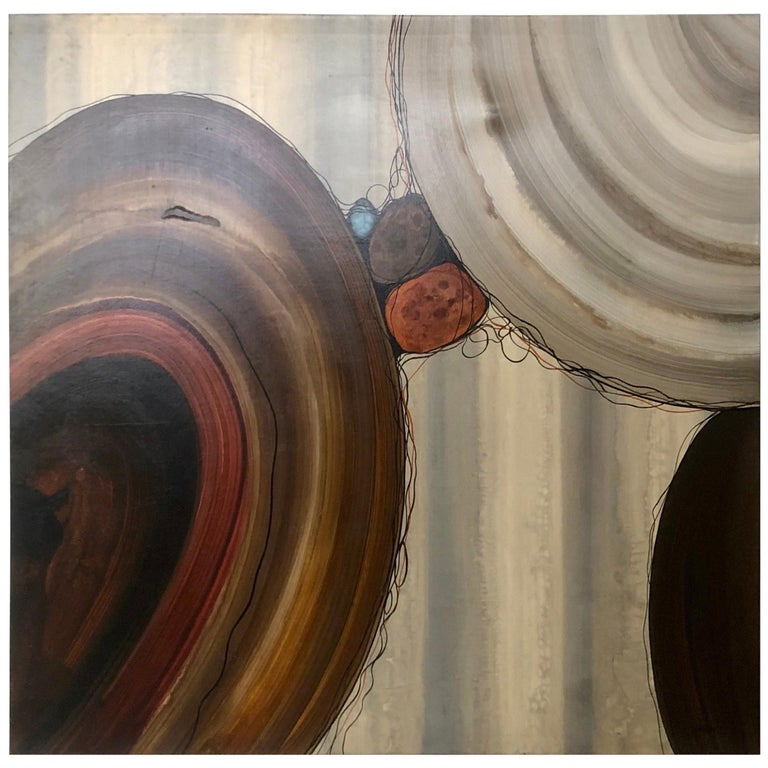 """Robert Charon Large Contemporary Abstract Original """"Orbs"""" Painting For Sale"""