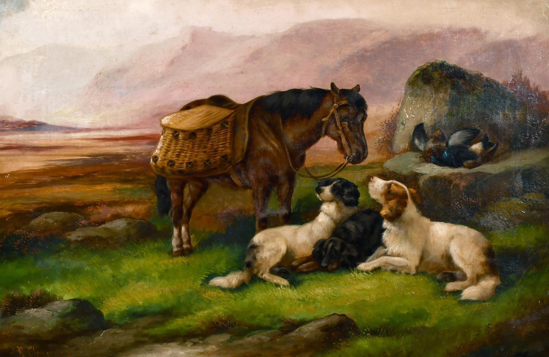 ROBERT CLEMINSON (1864-1903) LARGE SIGNED OIL - HIGHLAND PONY & DOGS LANDSCAPE