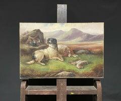 ROBERT CLEMINSON (1864-1903) LARGE SIGNED OIL - HIGHLAND SETTER DOGS LANDSCAPE