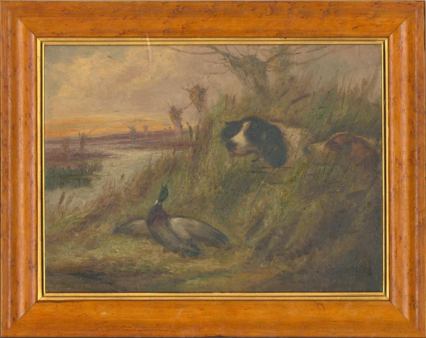 Robert Cleminson (fl.1864-1903)  - Late 19th Century Oil, Spaniels & Mallard