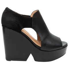 Robert Clergerie Black Suede & Leather Wedges