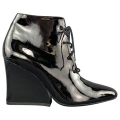 ROBERT CLERGERIE Size 6 Black Patent Leather Chunky Heel Ankle Boots