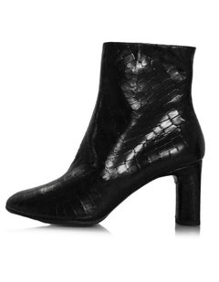 Robert Clergie Black Embossed Leather Ankle Boots Sz 36 NIB