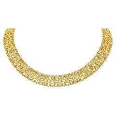 Robert Coin Diamond 18 Karat Yellow Gold Petals Collar Necklace