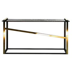 Robert Console Table in Blackened Steel, Saint Laurent Marble and Brass Accents