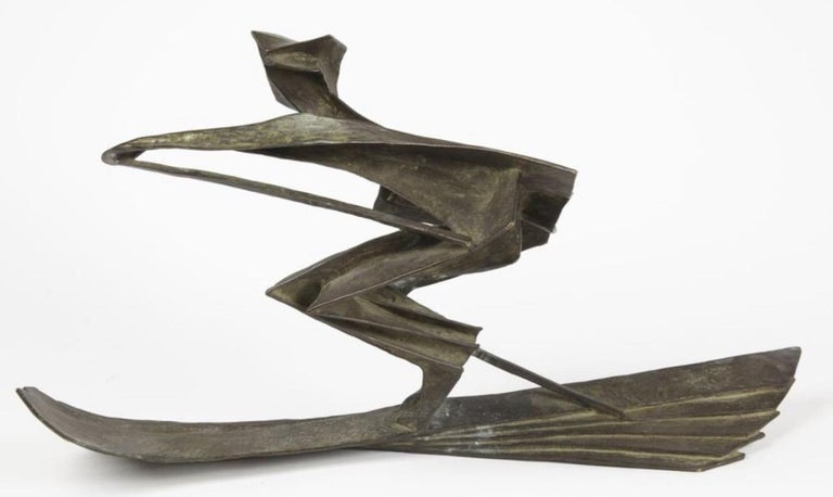 Bronze sculpture of a skier signed on the bottom