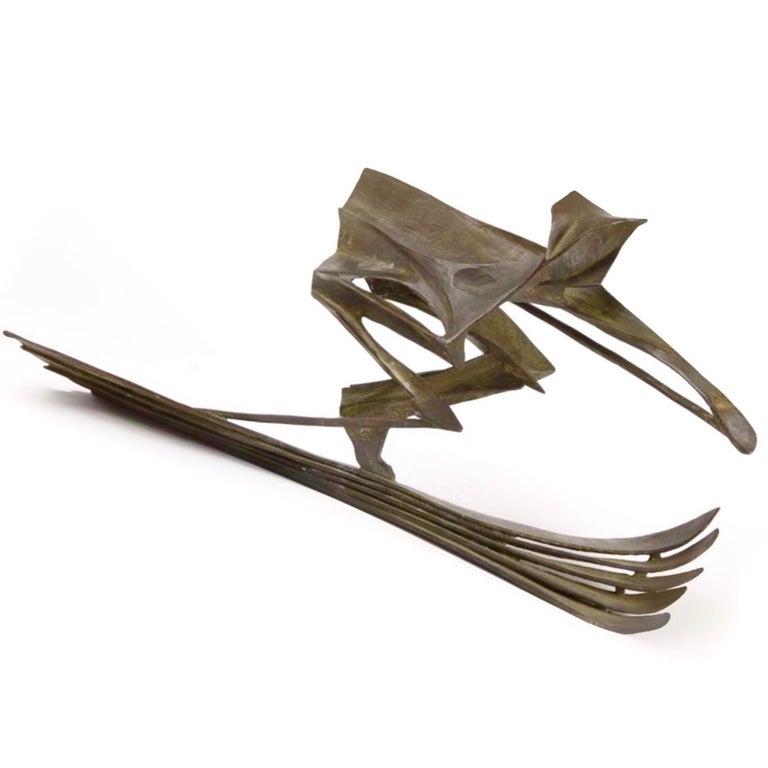 Robert Cook Figurative Sculpture - Bronze Sculpture of a Skier