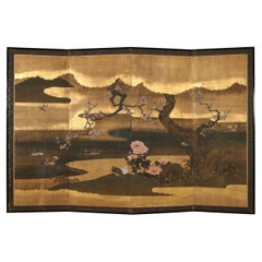 Robert Crowder Four Panel Hand Painted Screen