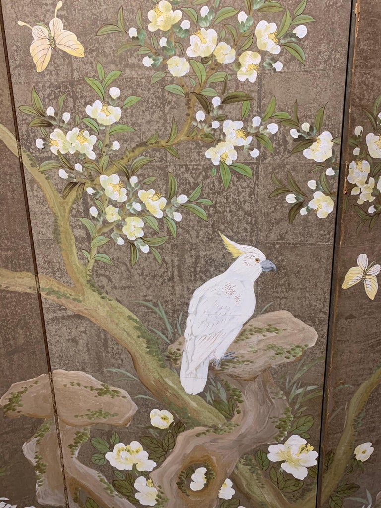 Hand-Painted Robert Crowder Hand Painted 3 Panel Screen For Sale