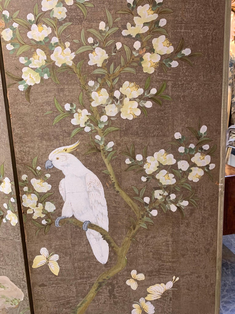 Robert Crowder Hand Painted 3 Panel Screen In Good Condition For Sale In Dallas, TX