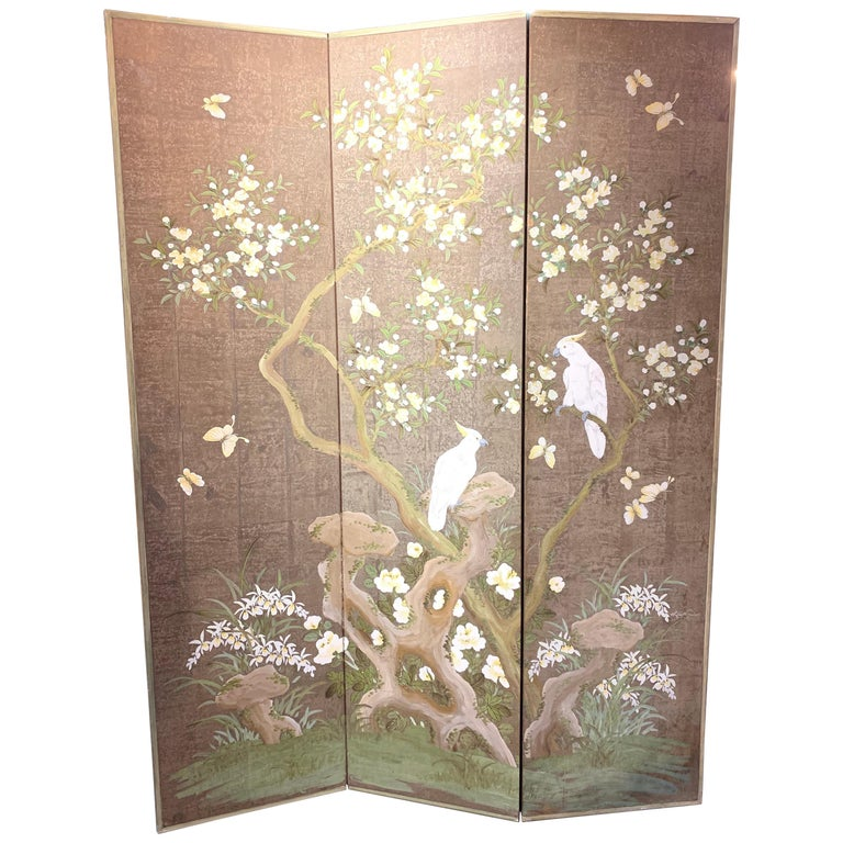Robert Crowder Hand Painted 3 Panel Screen For Sale
