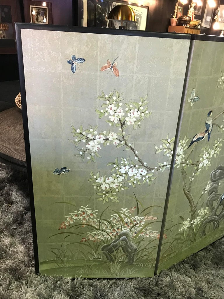 Showa Robert Crowder Hand Painted Four Panel Japanese Asian Byobu Screen Playful Birds For Sale