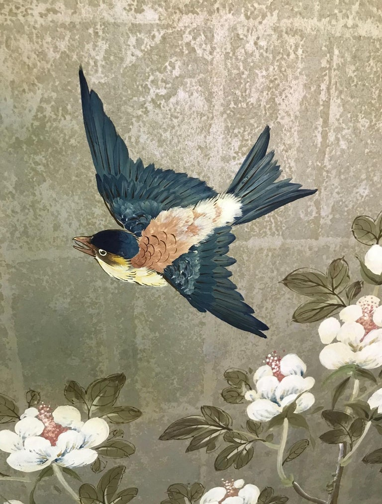 Hand-Painted Robert Crowder Hand Painted Four Panel Japanese Asian Byobu Screen Playful Birds For Sale