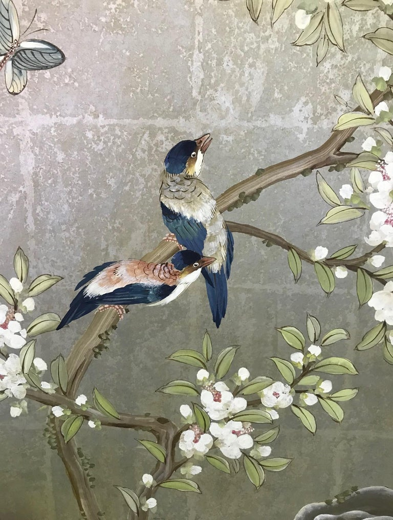20th Century Robert Crowder Hand Painted Four Panel Japanese Asian Byobu Screen Playful Birds For Sale