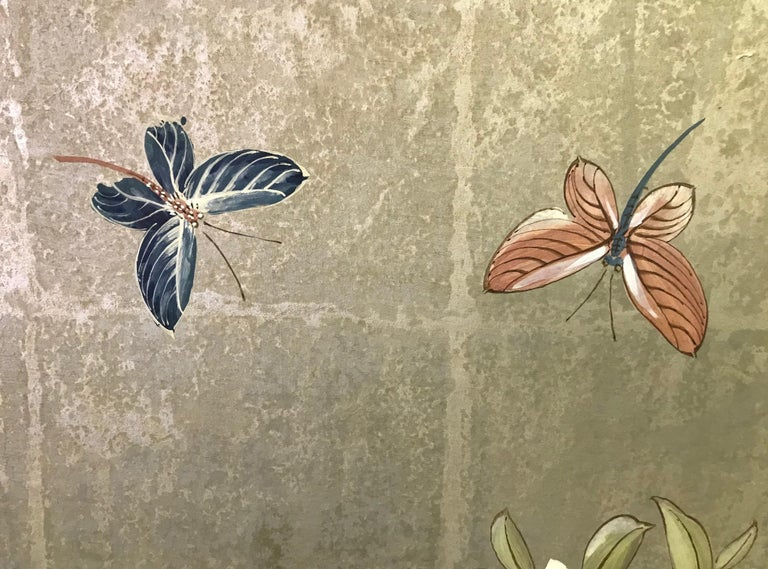 Robert Crowder Hand Painted Four Panel Japanese Asian Byobu Screen Playful Birds For Sale 1