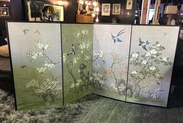 Robert Crowder Hand Painted Four Panel Japanese Asian Byobu Screen Playful Birds For Sale 2