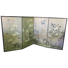 Robert Crowder Hand Painted Four Panel Japanese Asian Byobu Screen Playful Birds