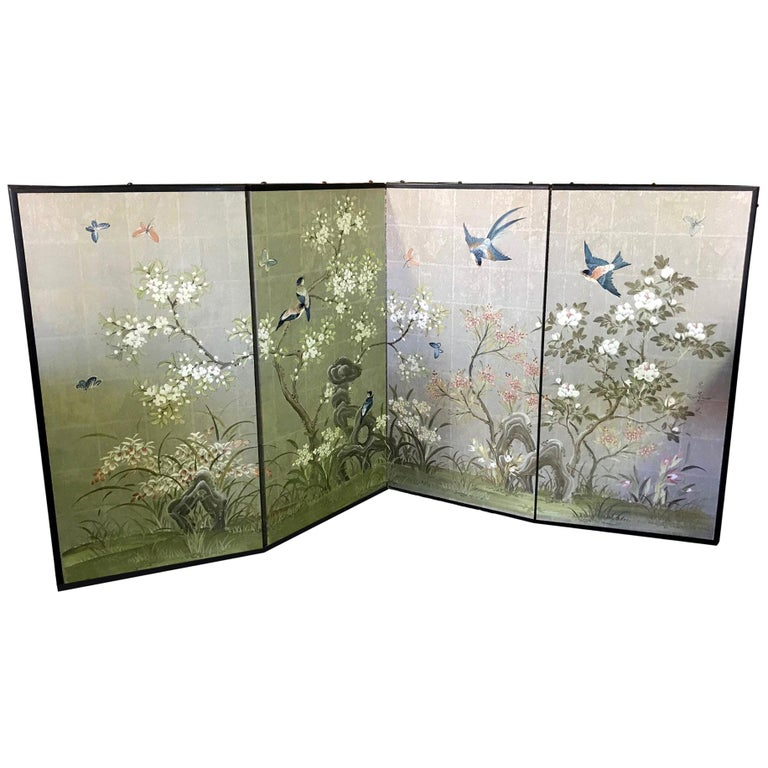 Robert Crowder Hand Painted Four Panel Japanese Asian Byobu Screen Playful Birds For Sale