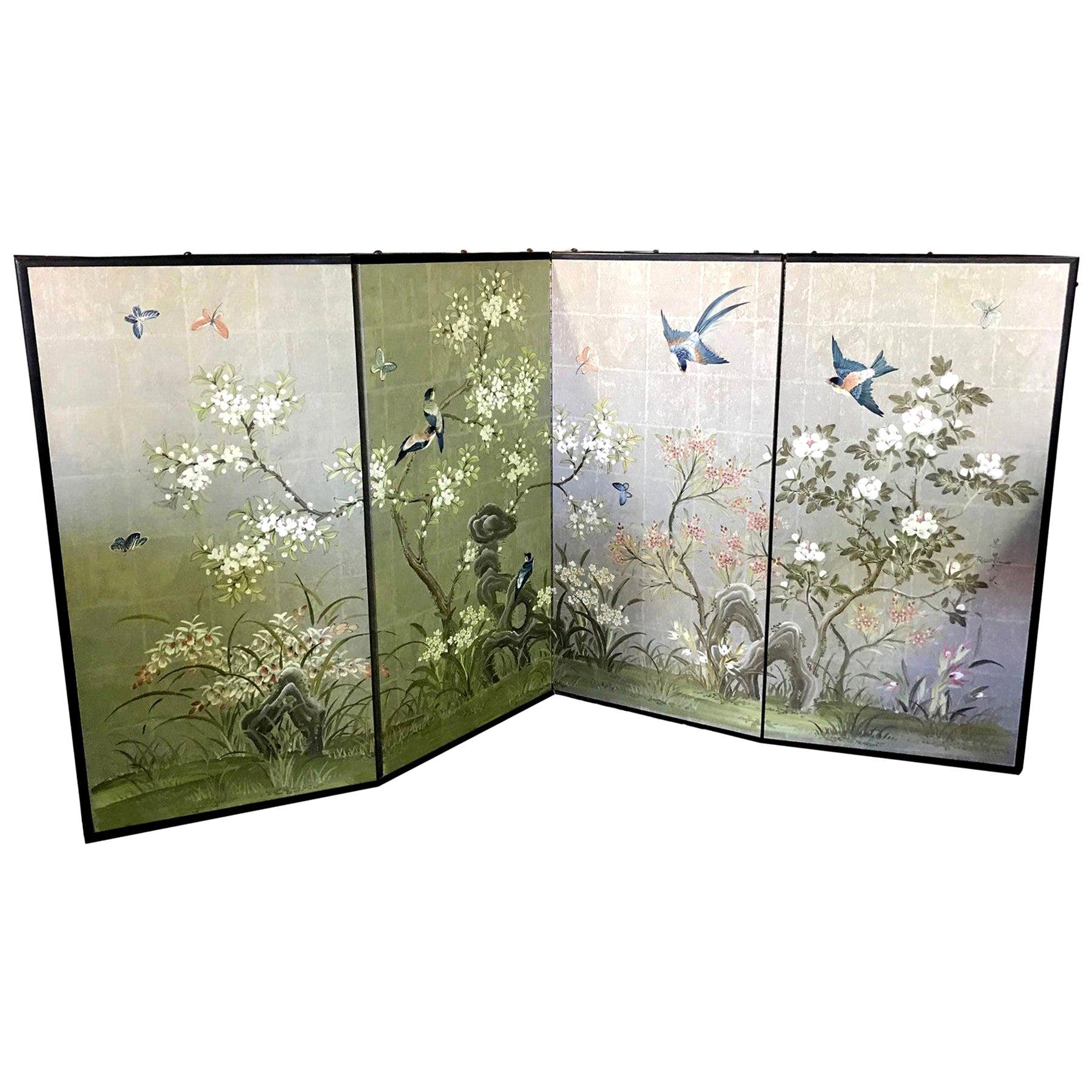 Robert Crowder Hand Painted Four-Panel Japanese Asian Byobu Screen Playful Birds