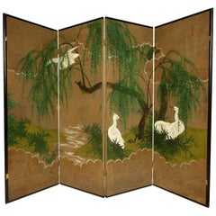 "Robert Crowder ""Weeping Willows and Herons"" Hand Painted Screen"