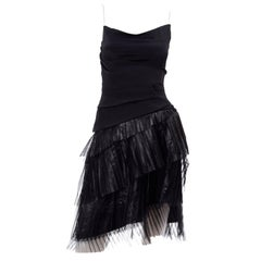 Robert Danes Vintage Black Dress With Asymmetrical Pleated Metallic Tulle Size 2