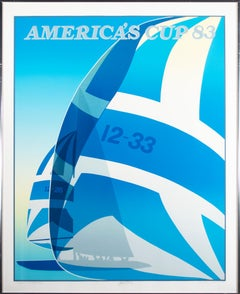 'Defender Courageous #1' original signed screen print America's Cup 83 sail boat