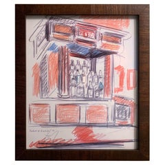 Original Robert DeNiro Sr. Iconic Maxwell Mahogany Bar Sketch