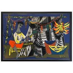 Robert Debieve Colorful Wall Hanging Tapestry
