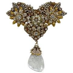Robert DeMario Huge Gold and Seed Pearl Glass Brooch circa 1960