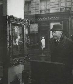 Man Looking at Painting of a Nude in Paris Shop Window, 1948