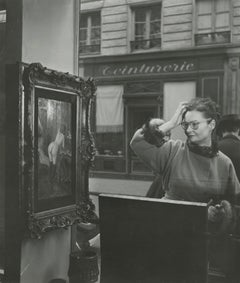 Woman Looking at Painting of a Nude in Paris Antique Shop Window, 1948