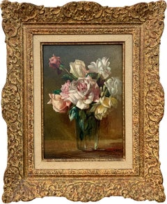Still Life Painting of Rose Flowers in a Vase by 20th Century British Artist