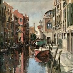 Rio De S. Barnaba Venice original city scape oil painting