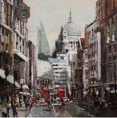 St Paul's from Fleet Street original city scape oil painting