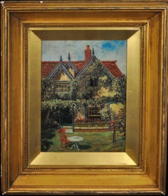 A New England Cottage Garden.Original Painting.Robert Emmett Owen. American Home