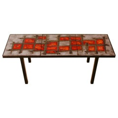 Robert Et Jean Cloutier Ceramic Coffee Table in Enameled Lava Stone, 1960